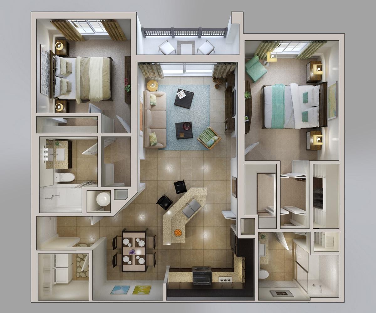 Plano de apartamento en 3D vía OIREALTOR
