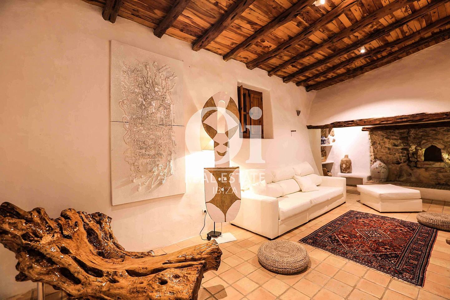 Sala de estar de casa en alquiler de estancia en Puig d'en Valls, Ibiza