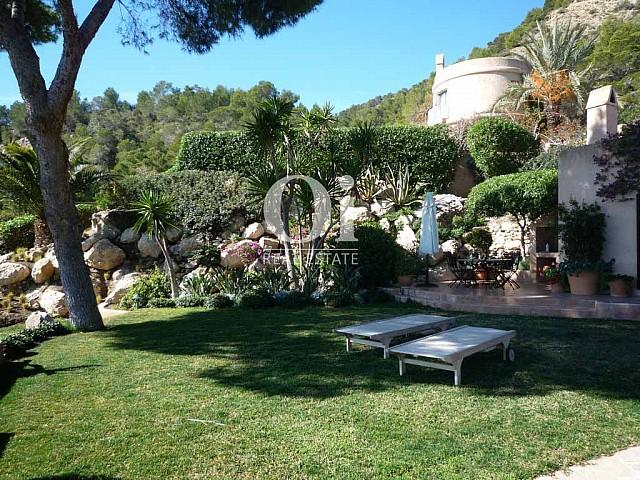 Красивый сад с пальмами и шезлонгами при роскошной вилле на острове Ибица, для аренды на время солнечного отпуска