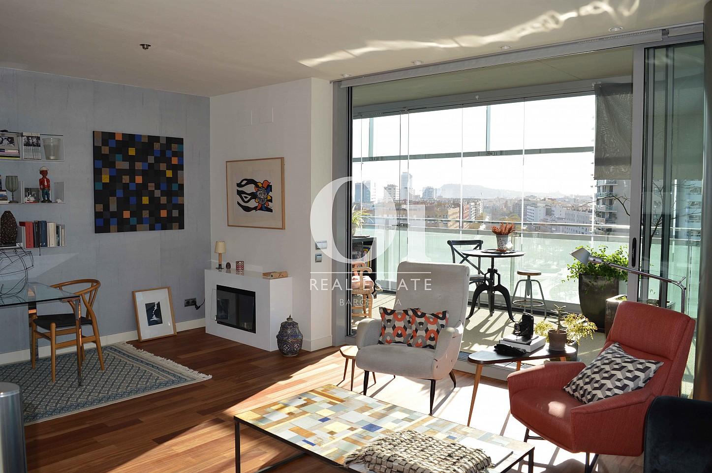 Salle de séjour d'appartement à vendre à Diagonal Mar, Barcelone