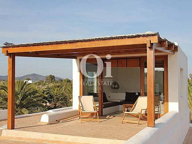 Blick auf die Chillout-Area der Villa zur Miete in Es Codolar, Ibiza