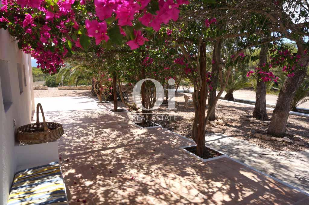 Blick auf den Hof von rustikalen Haus zur Miete auf Formentera