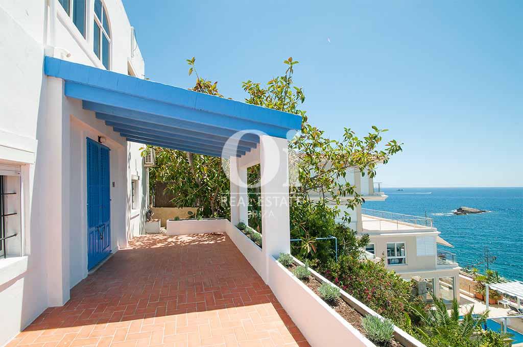 Blick von der Terrasse der Ferienvilla  auf Ibiza, Los Molinos