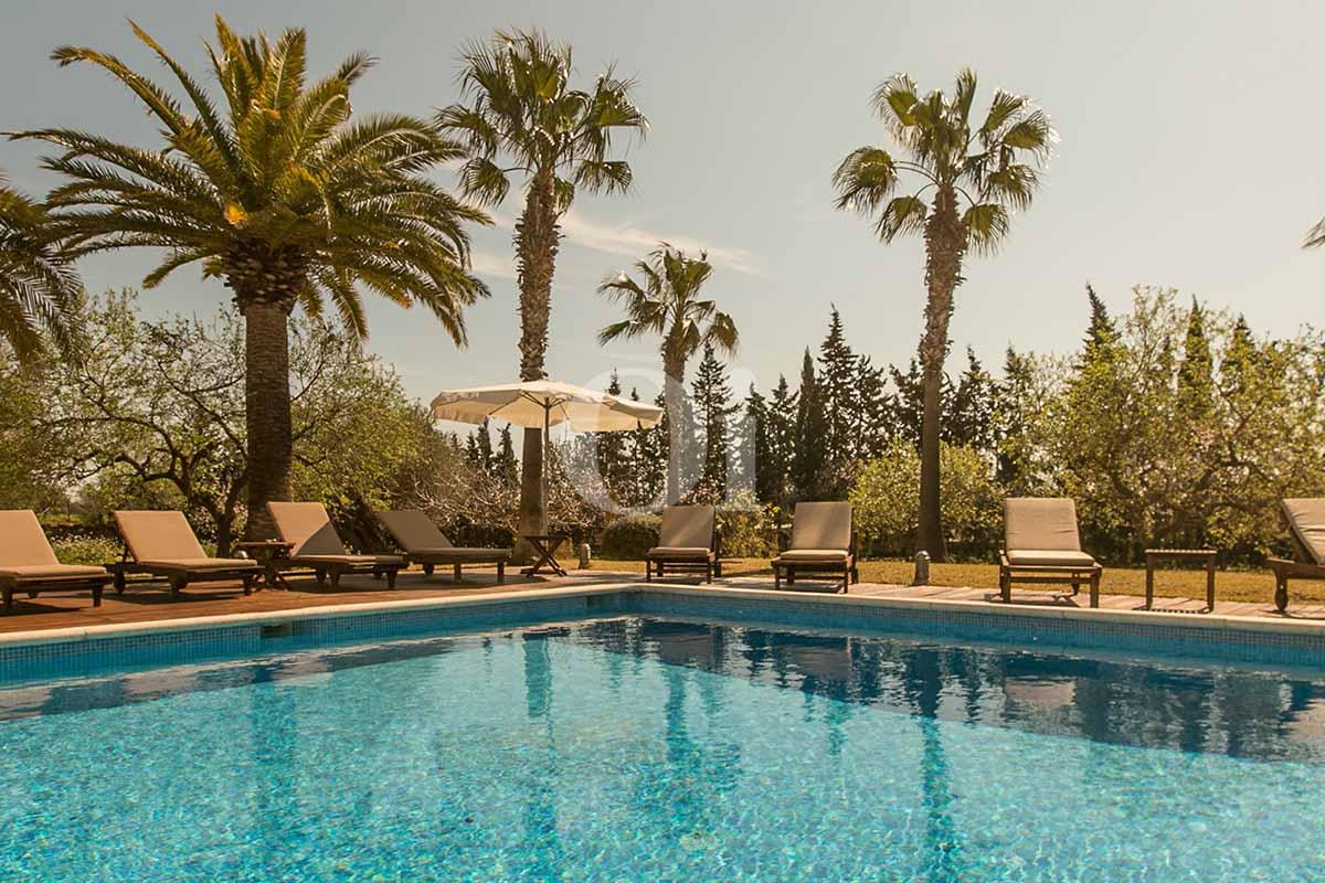 Piscine et hamacs de maison pour séjour en location à San Jose, Ibiza