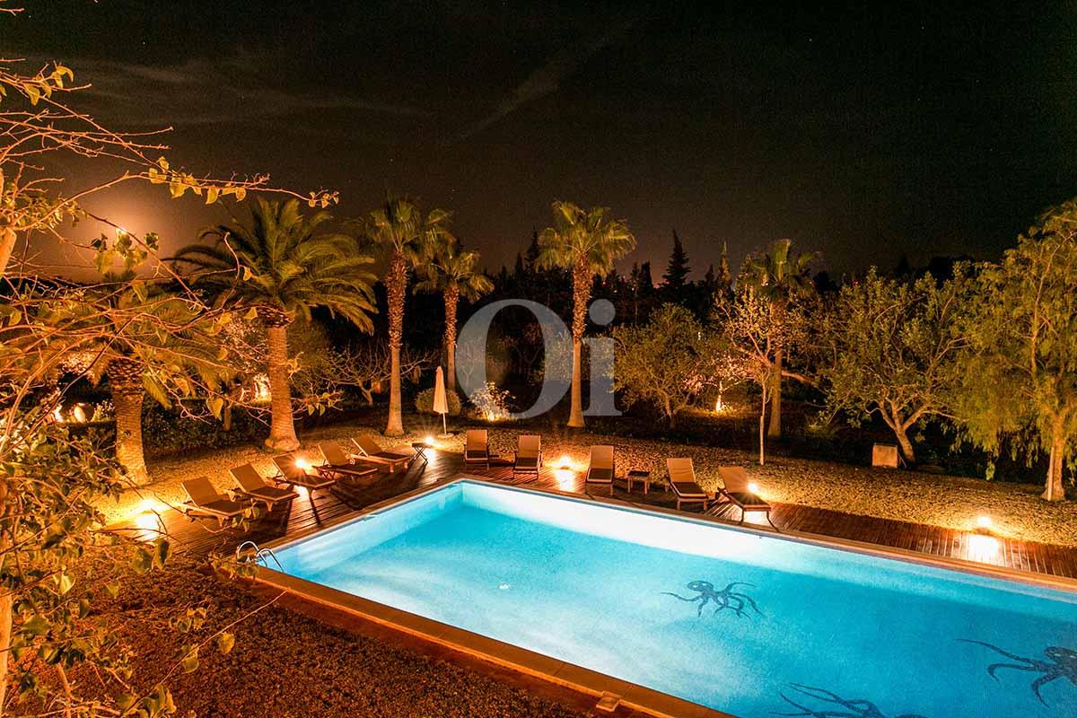 Jardín tropical de casa en alquiler de estancia en San Jose, Ibiza