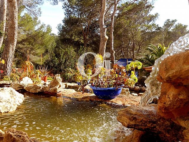 Милый и прекрасный прудик с фонтаном и водопадом в чулесном доме на продажу на Ибице