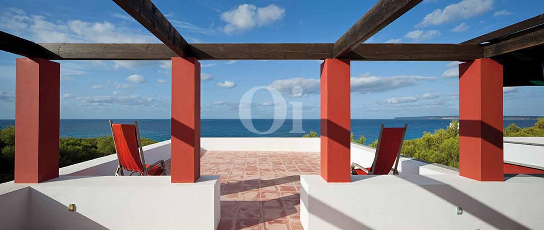 Blick auf die Terrasse der Ferien-Villa zur Miete auf Fomentera