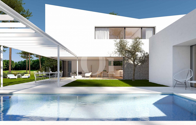 Piscina propia de lujosa villa minimalista en venta en Caldes de Malavella