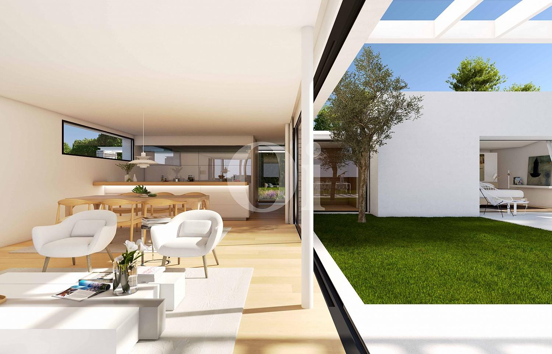 Sala de estar de lujosa villa minimalista en venta en Caldes de Malavella