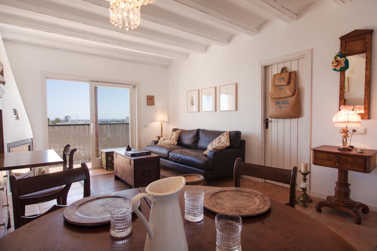 Sala de estar de fantastico apartamento en alquiler en Sant Jordi, Ibiza