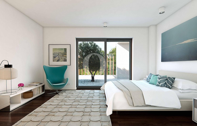 Уютная и очень стильная спальня на шикарной вилле класса люкс на продажу недалеко от Жироны
