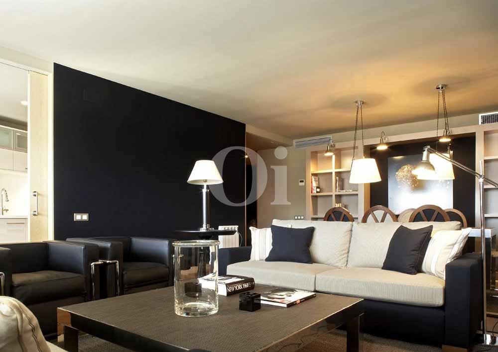 Sala de estar de precioso apartamento en venta en Sant Gervasi - La Bonanova