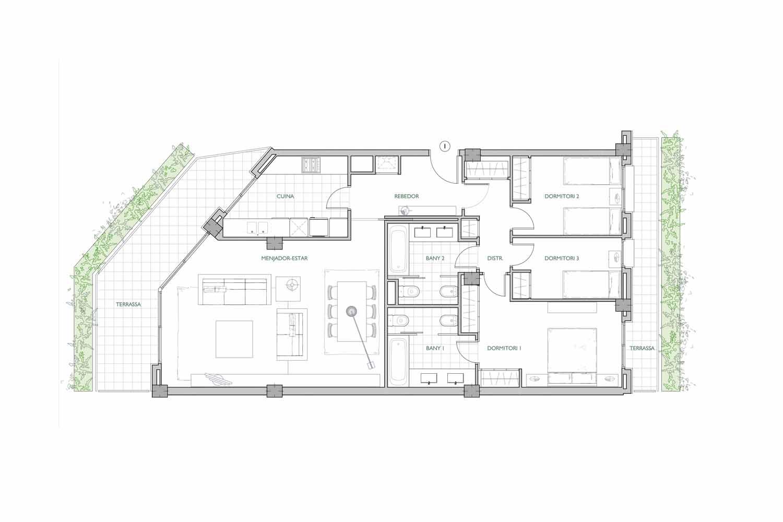 План квартиры на продажу в районе Sant Gervasi - La Bonanova
