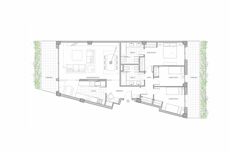 Plano de maravilloso piso en venta en Sant Gervasi - La Bonanova
