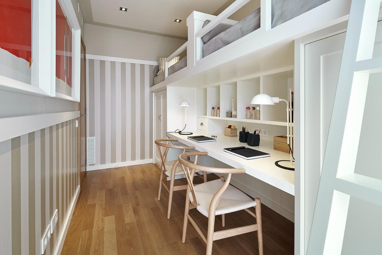 vista de habitacion doble con literas de piso en venta de nueva promocion en Sants
