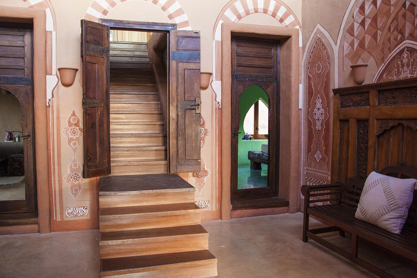 Recibidor de preciosa villa en alquiler con vistas panorámicas en San Miguel, Ibiza