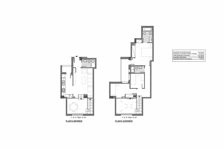 Grundriss eines Deisg-Duplex zum Verkauf in Gràcia, Barcelona