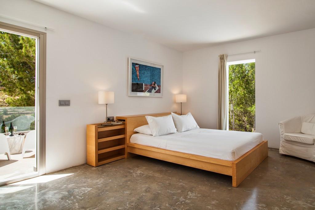 Dormitorio de exclusiva villa con fantasticas vistas en alquiler, Ibiza