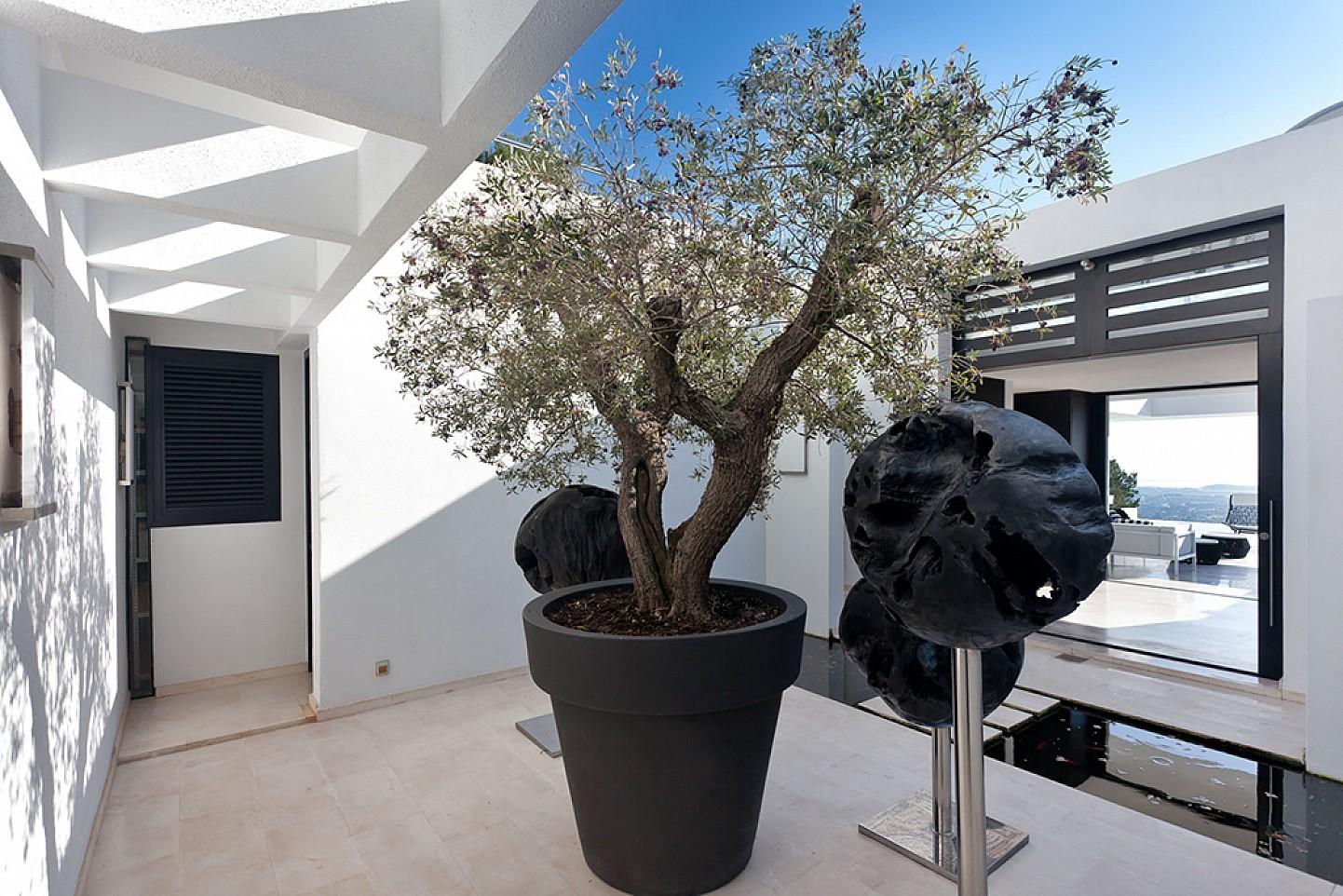 Patio de lujosa villa con maravillosas vistas en alquiler en Ibiza
