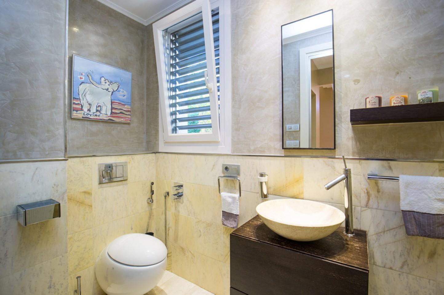 Bathroom with shower in  stylish villa for sale in Lloret de Mar, Costa Brava