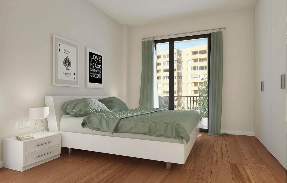 Dormitorio de uno de los apartamentos