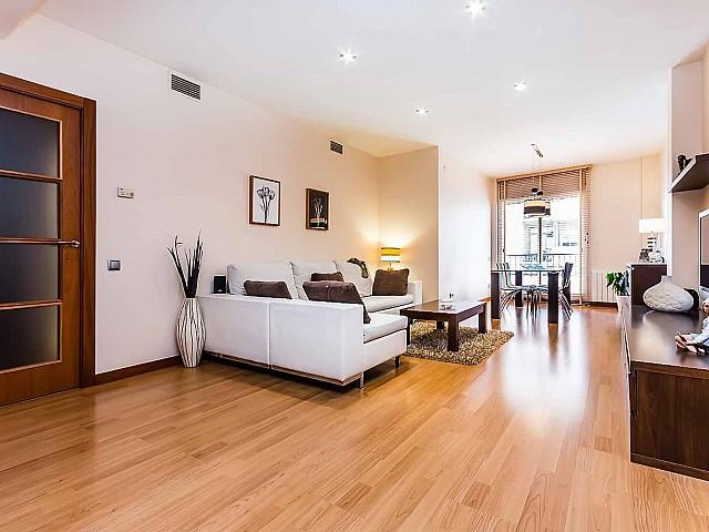 Open plan living room with exquisite parquet floors