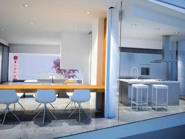 bright, white, light, modern, design, kitchen, dining room