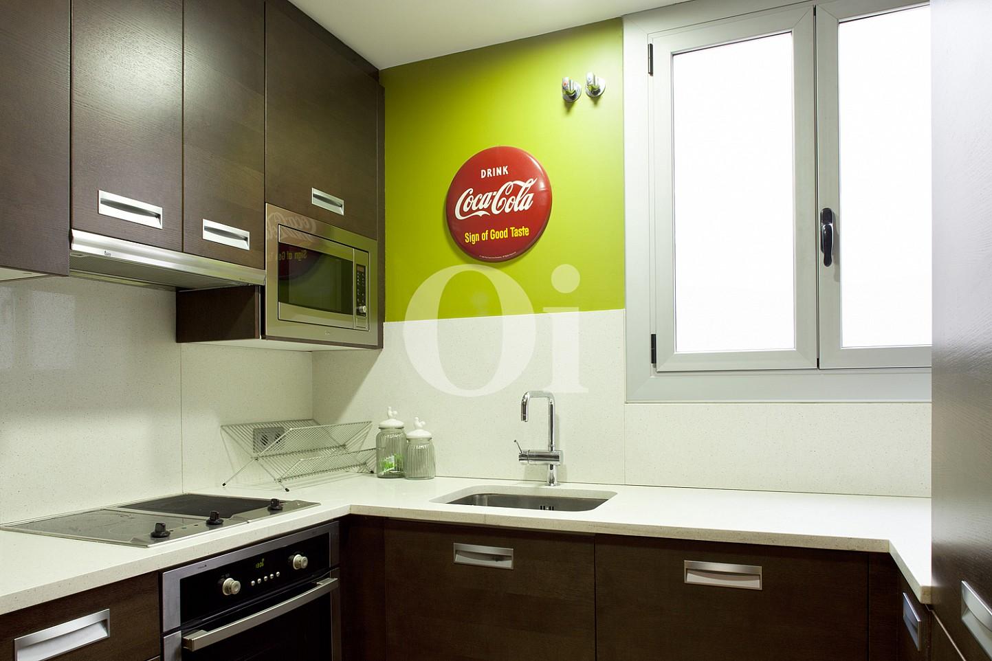 cocina, cocina equipada, electrodomésticos, cocina con electrodomésticos, horno, vitrocerámica, campana extractora