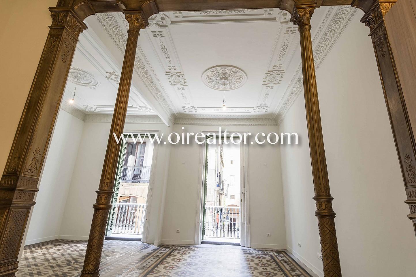 modernista, piso modernista, suelo de mosaico, mosaico, salón comedor, salón, comedor, balcón salón con balcón, vistas a la ciudad