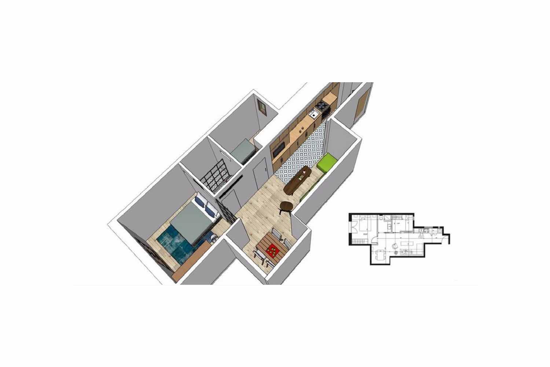 plano, piso, plano de piso, piso en plano, apartamento, piso en el Raval, piso céntrico