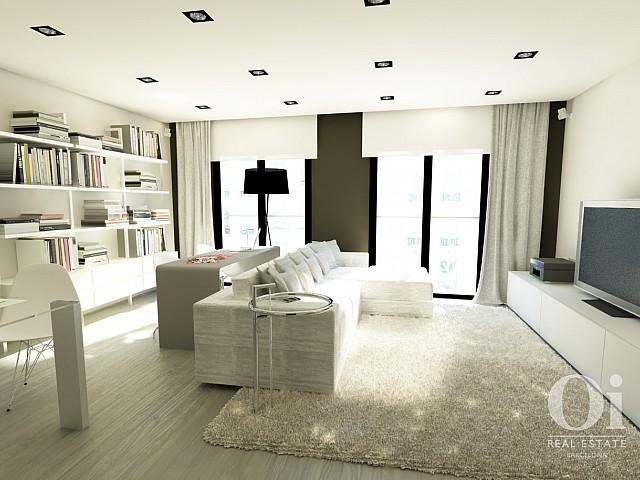 Salon lumineux et cosy dans un appartement luxueux en vente à Barcelone