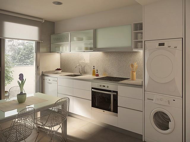 Cuisine équipée et fonctionnelle dans un luxueux appartement en vente à Barcelone