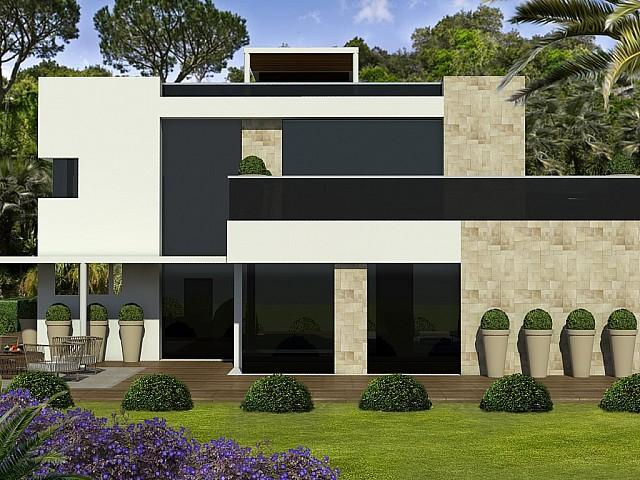 Venta de terreno con proyecto de casa de diseño en Alella Urb. Mas Coll, Maresme